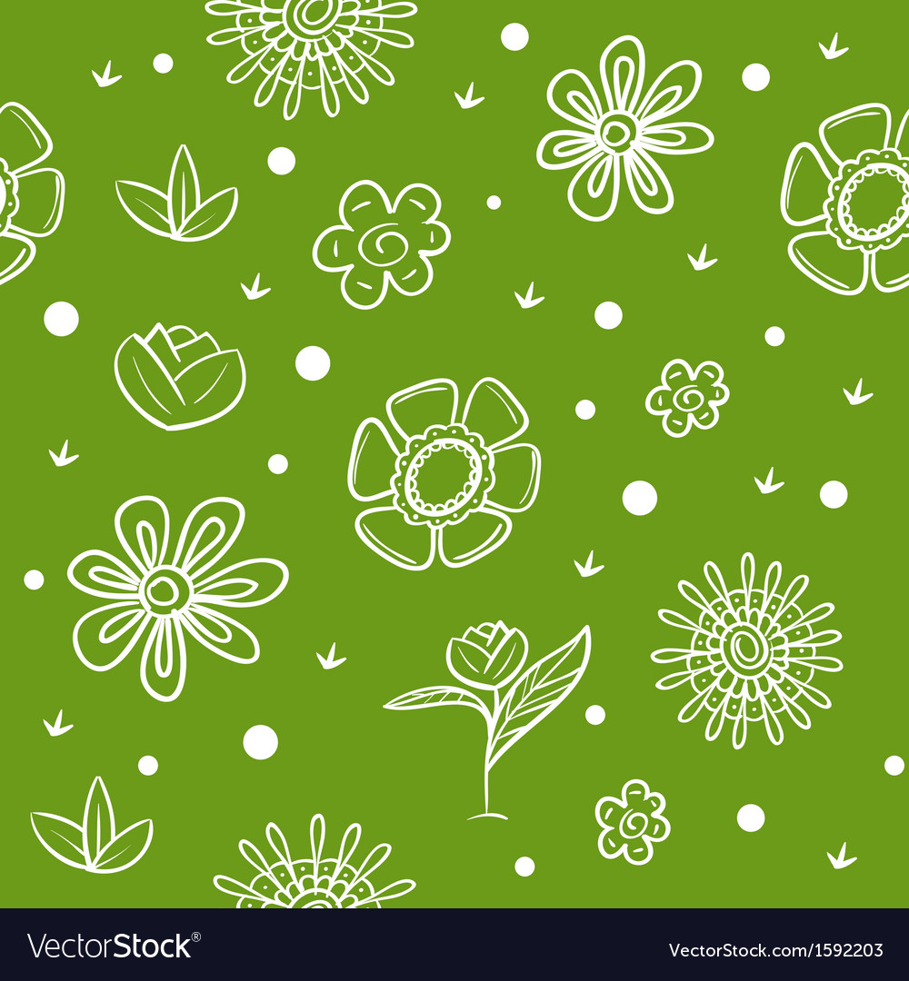 Spring green background with flowers vector | Price: 1 Credit (USD $1)