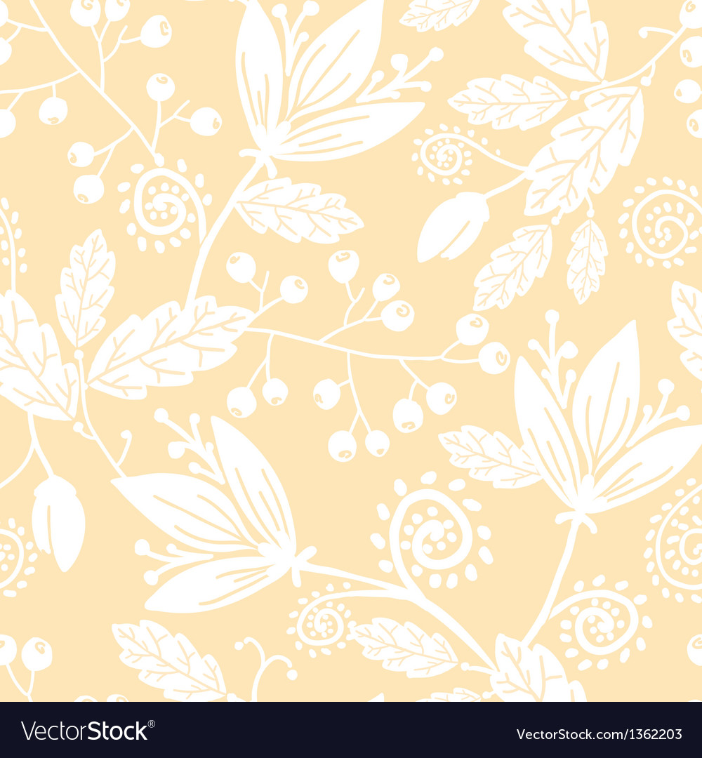 Yellow and white silhouettes flowers seamless vector | Price: 1 Credit (USD $1)