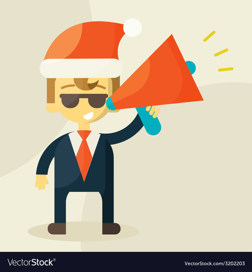 Young businessman with a megaphone and christmas vector | Price: 1 Credit (USD $1)