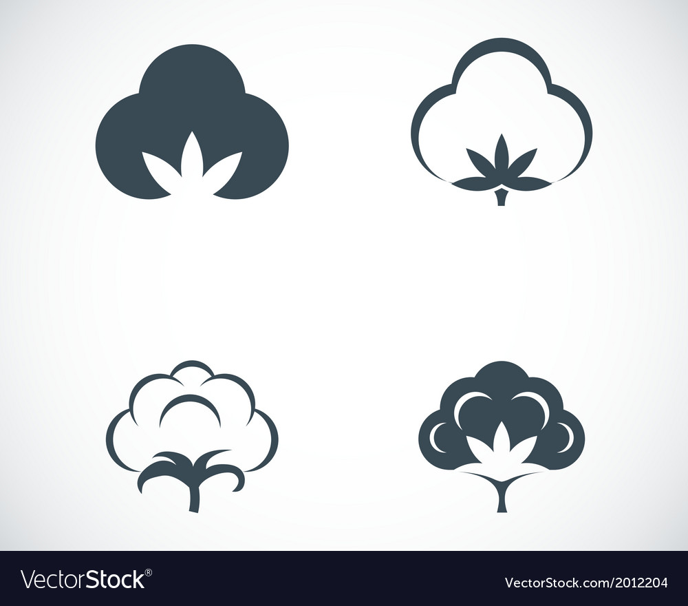Black cotton icons set vector | Price: 1 Credit (USD $1)