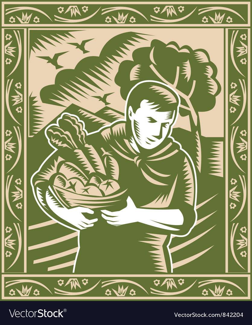Farmer with basket of harvest vector | Price: 1 Credit (USD $1)