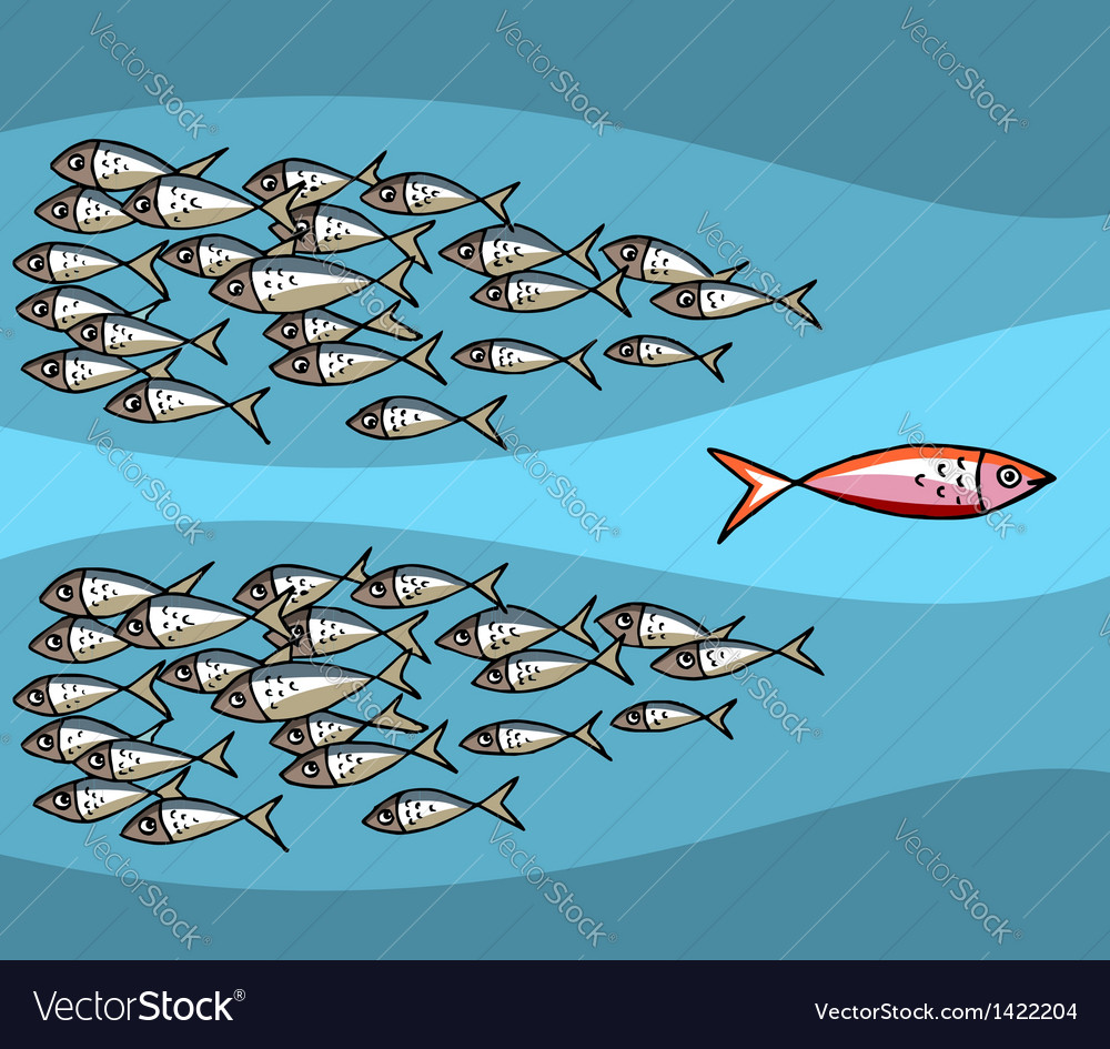 Fish swimming against the tide vector | Price: 1 Credit (USD $1)