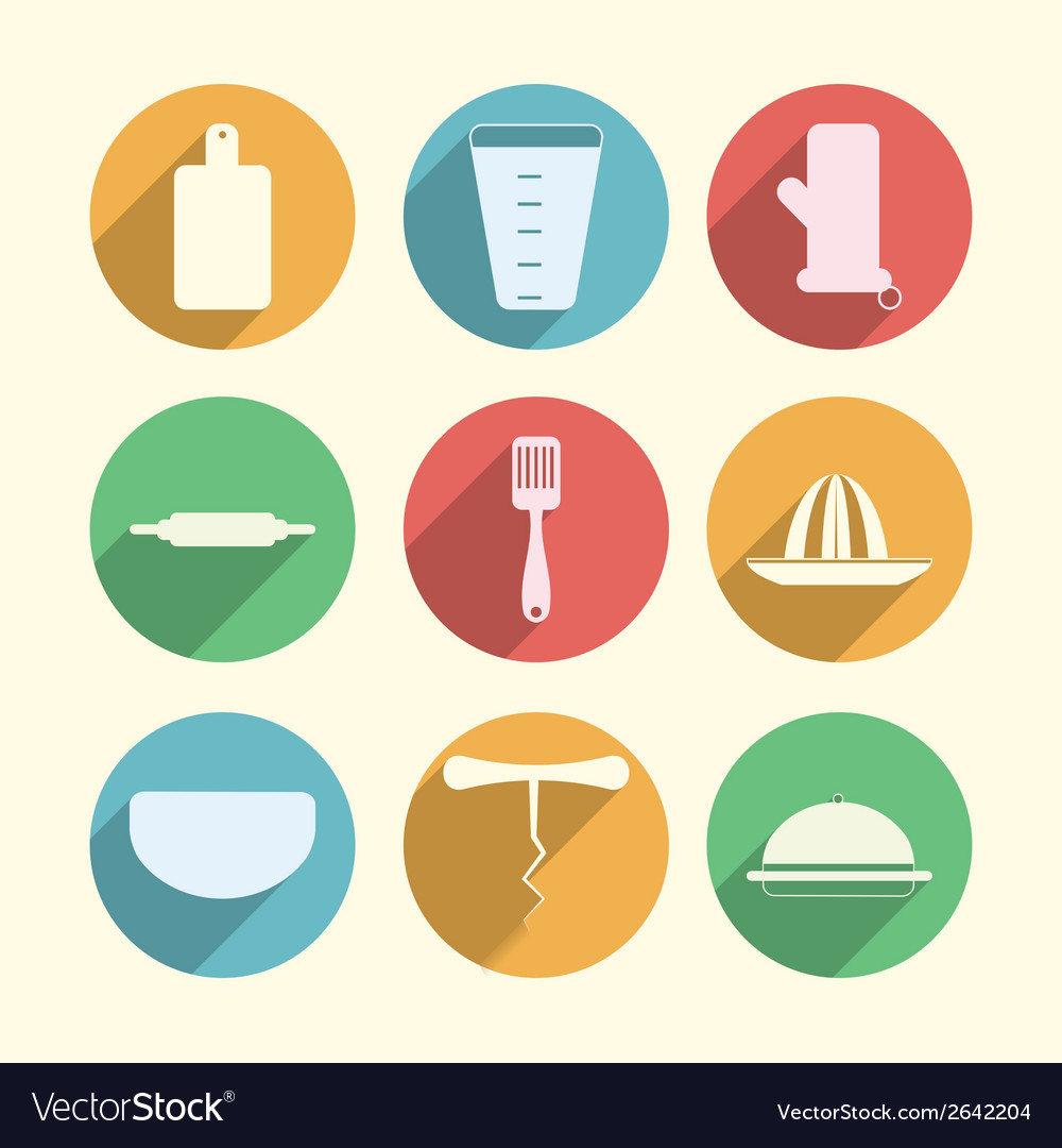 Flat circle icons for kitchenware vector | Price: 1 Credit (USD $1)