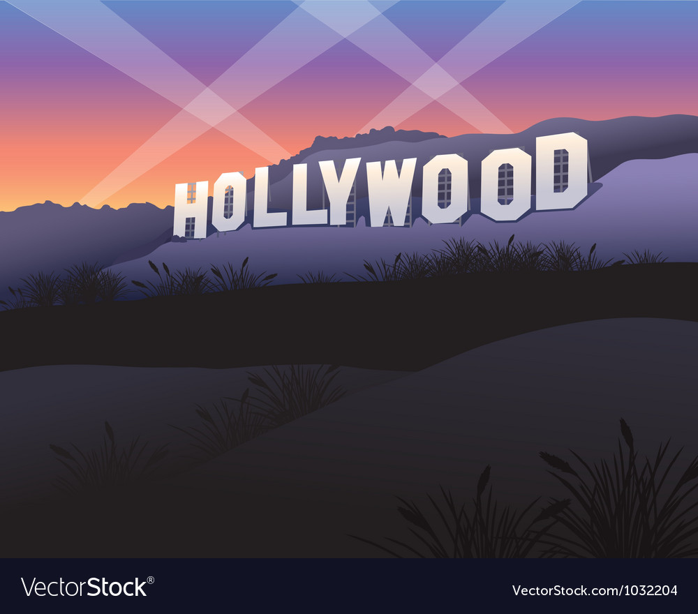 Hollywood sign at twilight vector | Price: 1 Credit (USD $1)