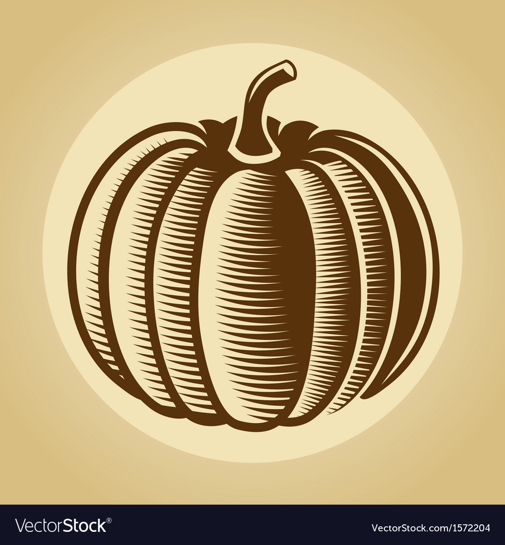 Pumpkin label in retro vintage style vector | Price: 1 Credit (USD $1)