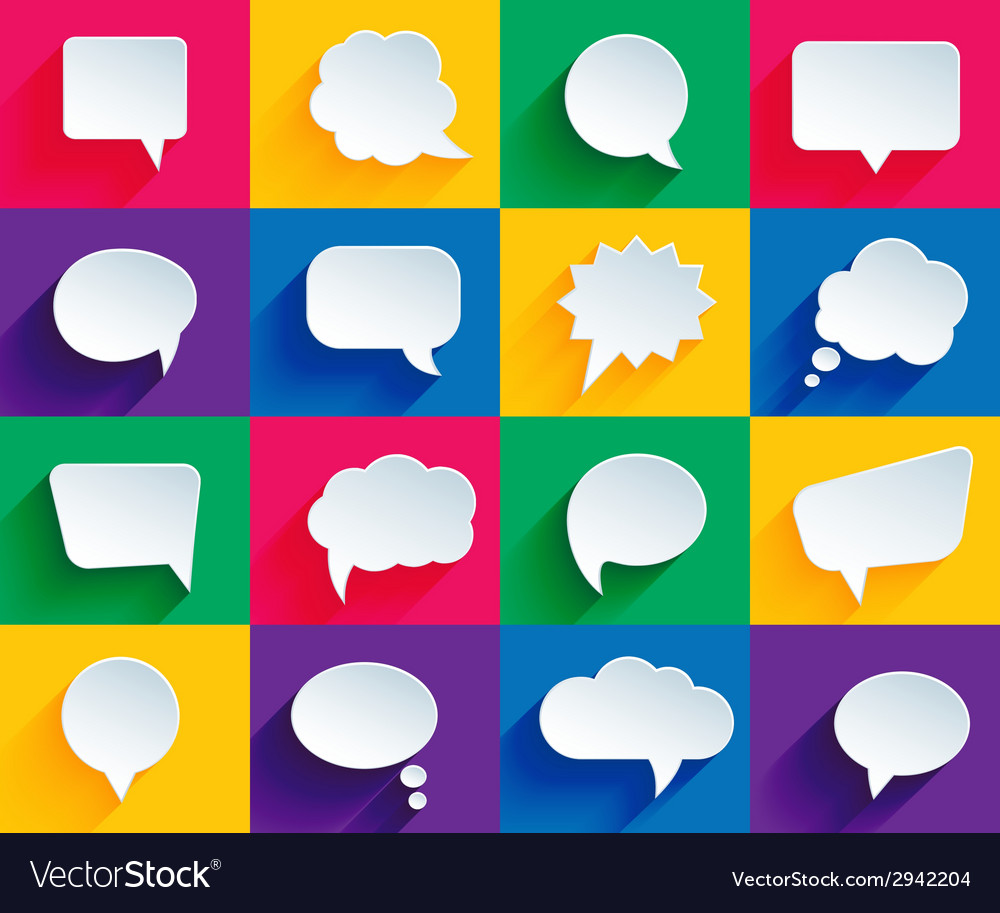 Speech bubbles in flat style vector | Price: 1 Credit (USD $1)