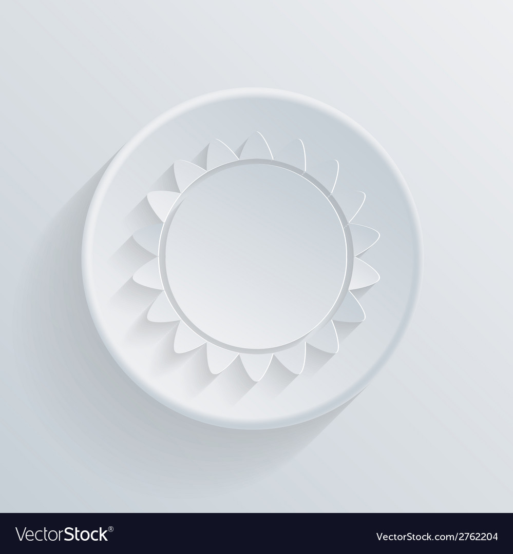 Sun circle icon in the style of paper with shadow vector | Price: 1 Credit (USD $1)