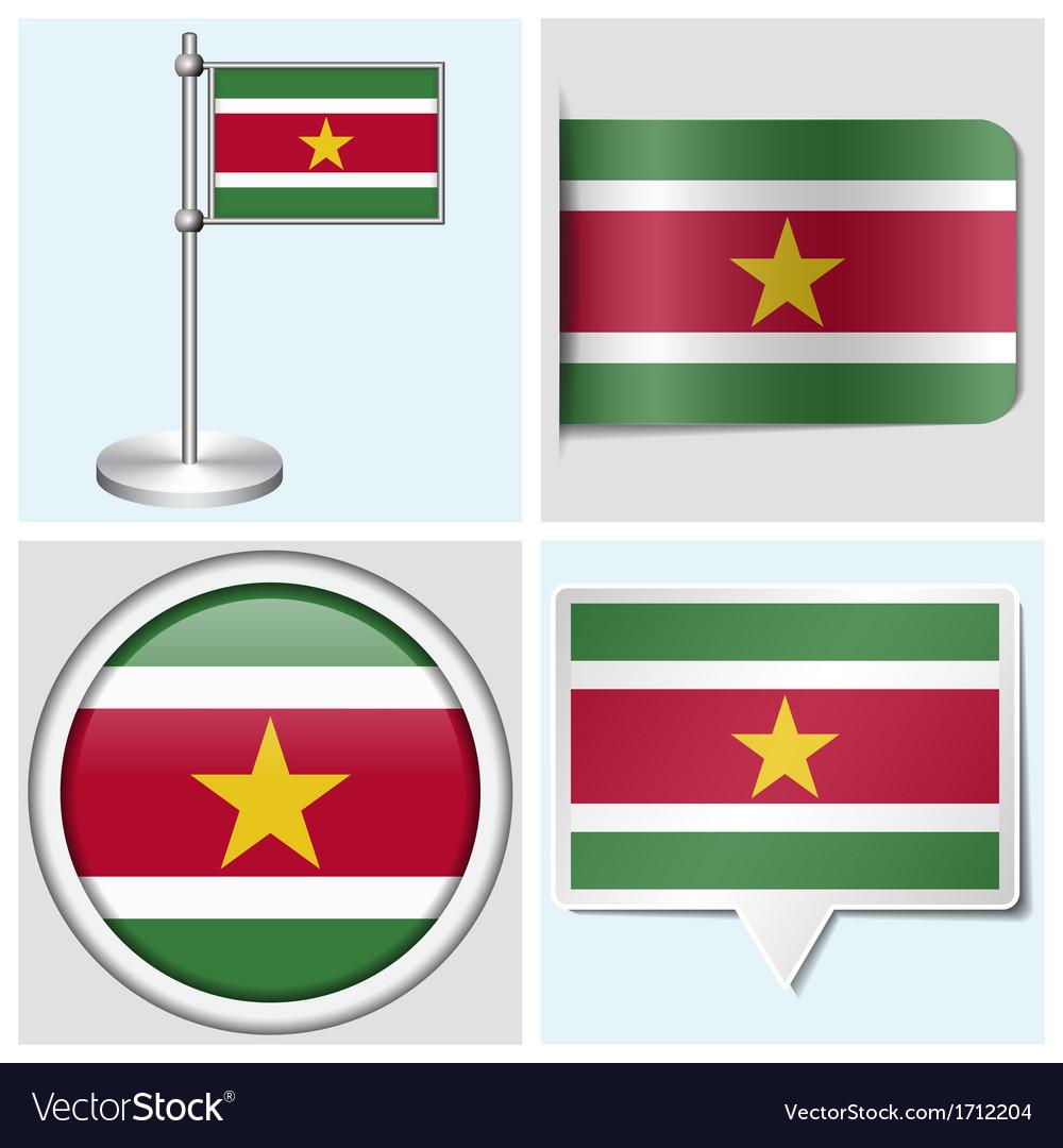 Suriname flag - sticker button label flagstaff vector | Price: 1 Credit (USD $1)