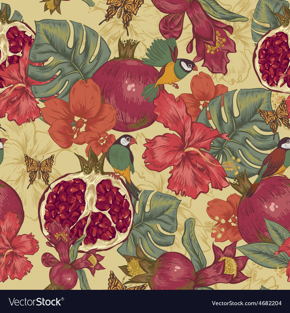 Vintage seamless background tropical fruit vector | Price: 1 Credit (USD $1)