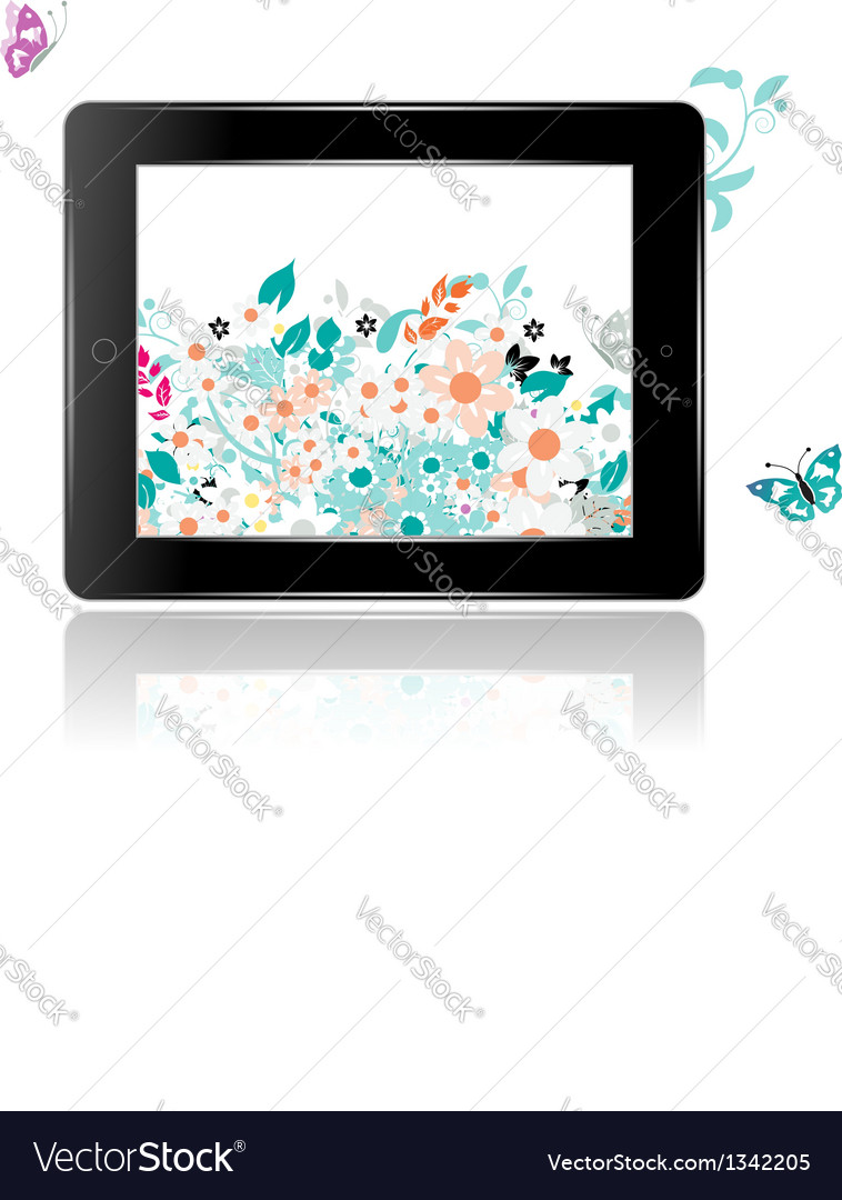 Black abstract tablet pc with floral decoration vector | Price: 1 Credit (USD $1)