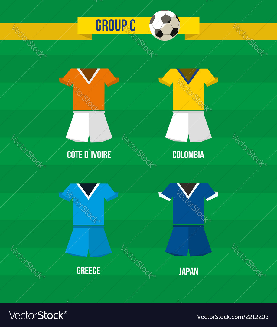 Brazil soccer championship 2014 group c team vector | Price: 1 Credit (USD $1)