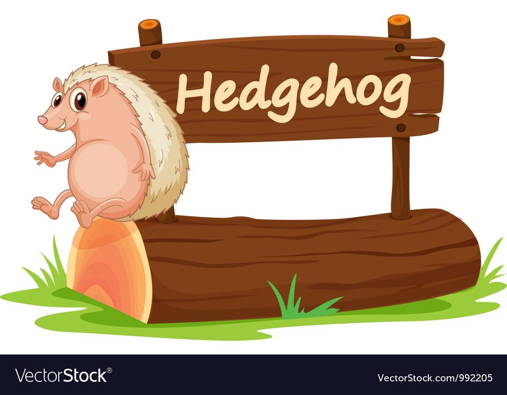 Cartoon zoo hedgehog sign vector   Price: 1 Credit (USD $1)