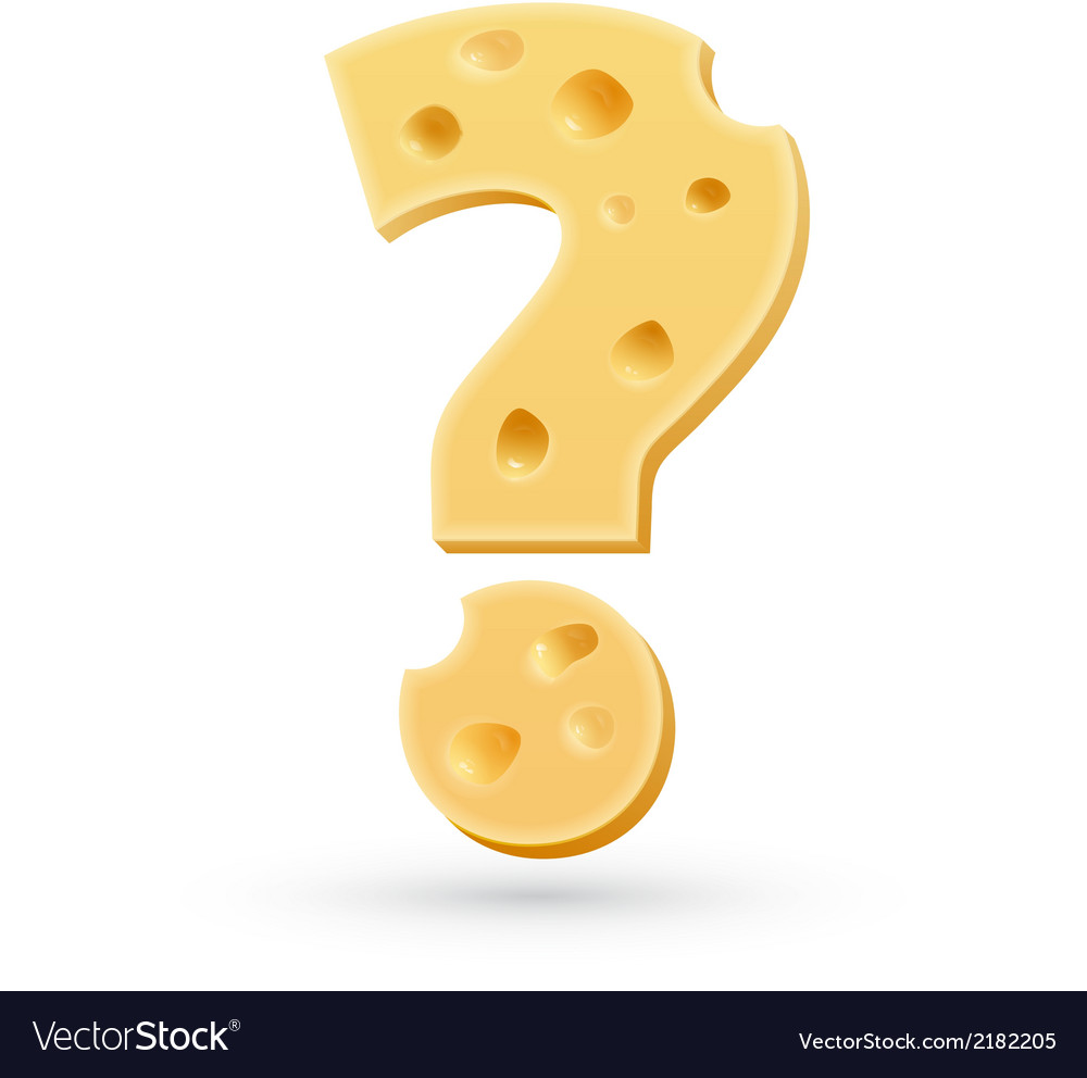 Cheese question mark symbol isolated on white vector | Price: 1 Credit (USD $1)