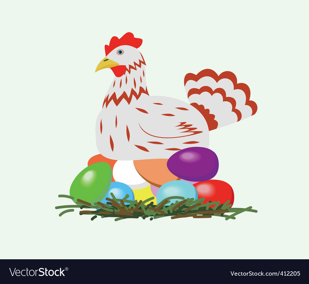 Chicken with easter eggs vector | Price: 1 Credit (USD $1)