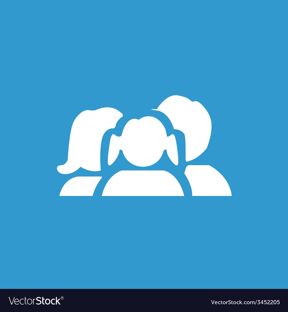 Family icon white on the blue background vector | Price: 1 Credit (USD $1)