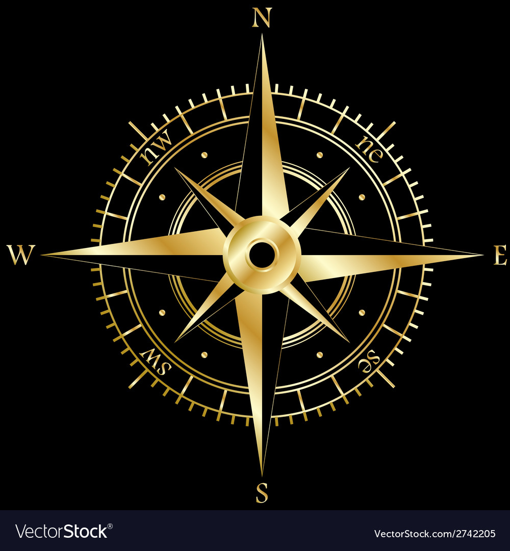 Golden wind rose vector | Price: 1 Credit (USD $1)