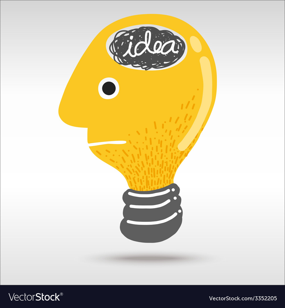 Man light bulb head vector | Price: 1 Credit (USD $1)