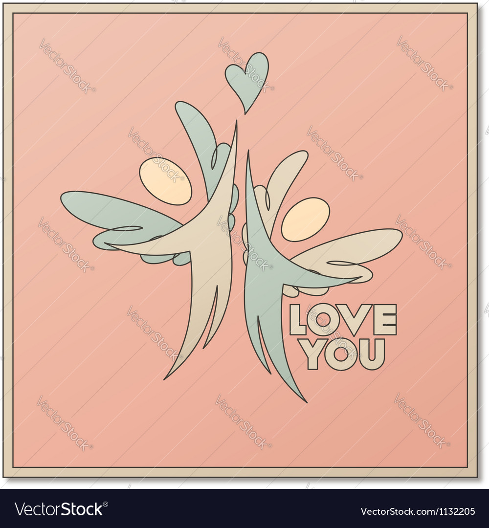 Romantic design with two angels vector | Price: 1 Credit (USD $1)