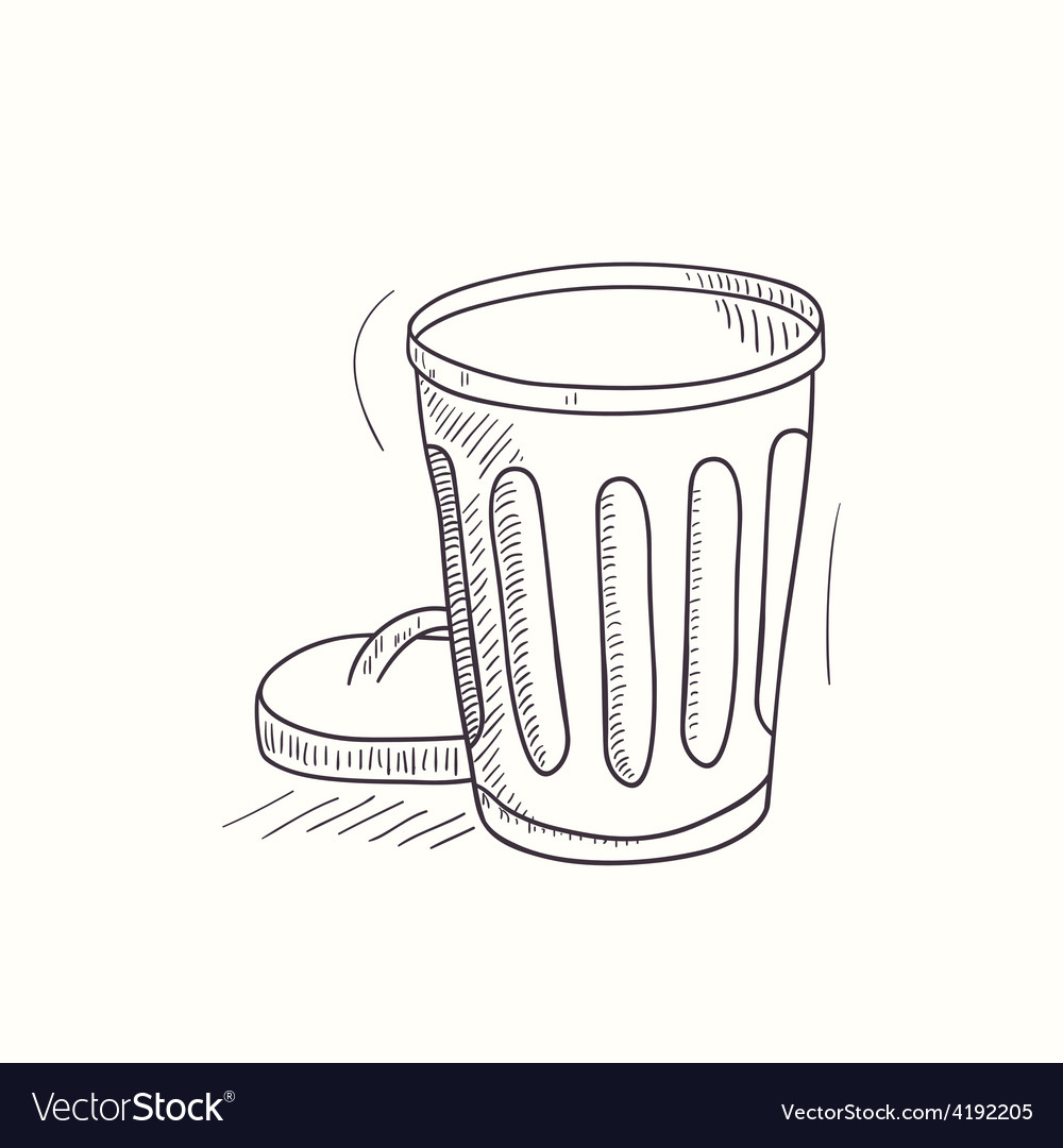 Sketched empty trash bin desktop icon vector | Price: 1 Credit (USD $1)