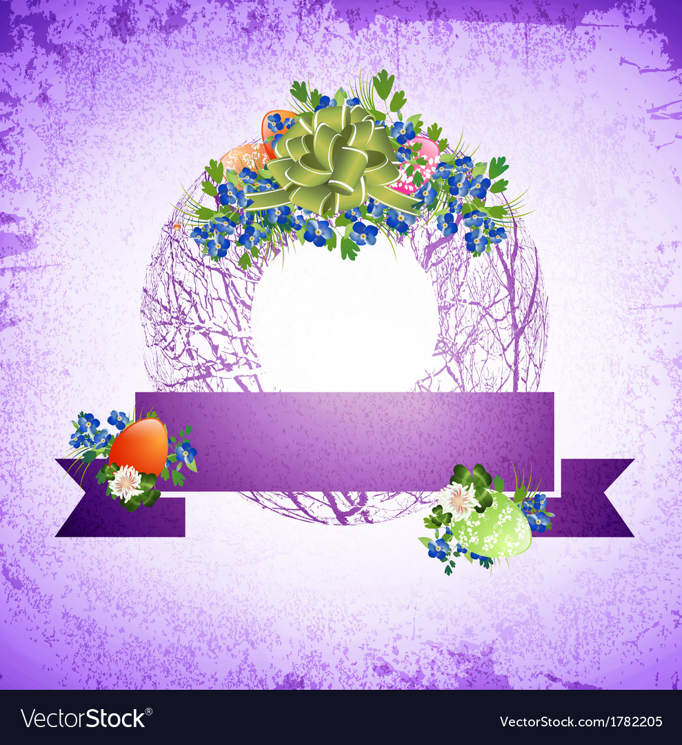 Vintage easter decorative wreath vector | Price: 1 Credit (USD $1)