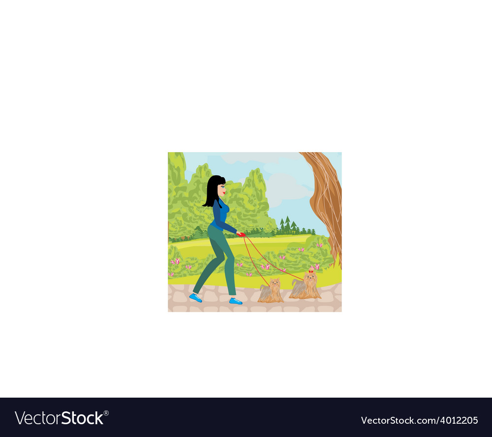 Walk the dogs in the park vector | Price: 1 Credit (USD $1)
