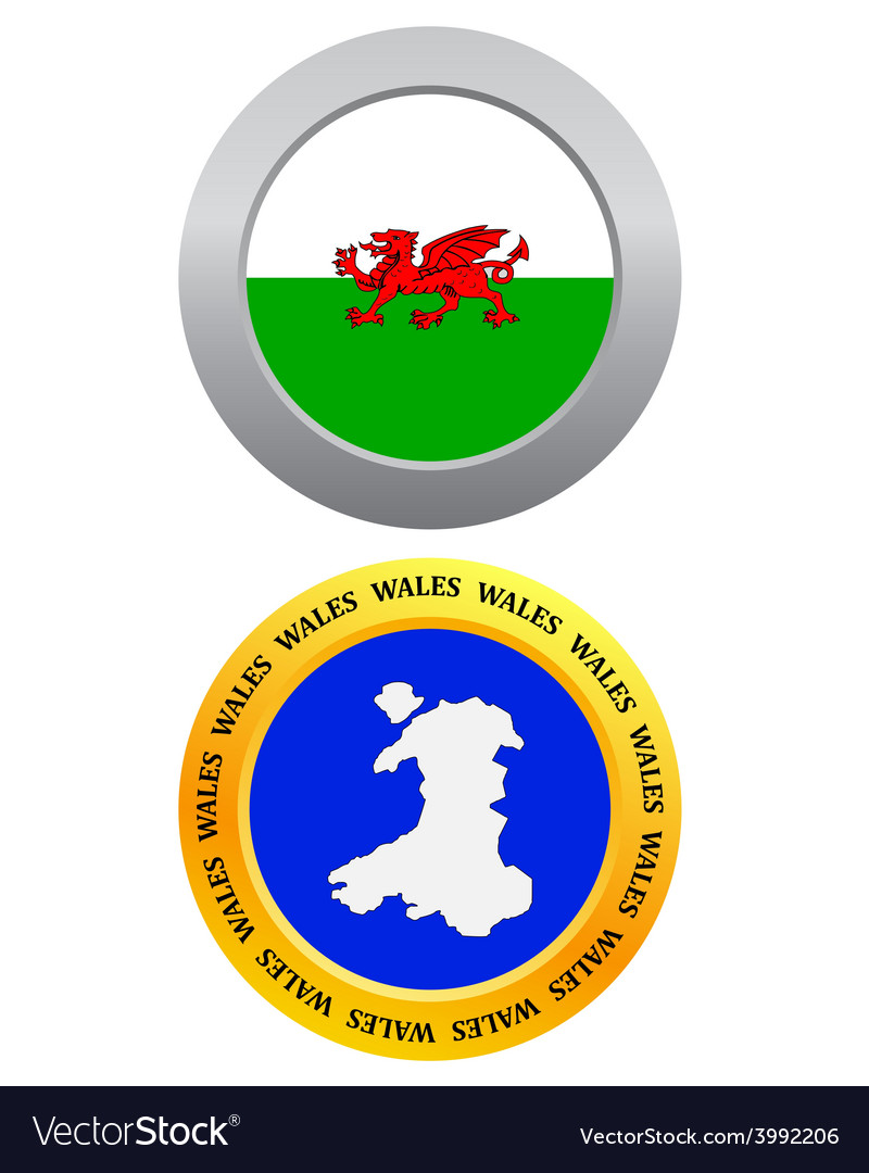 Button as a symbol map wales vector | Price: 1 Credit (USD $1)