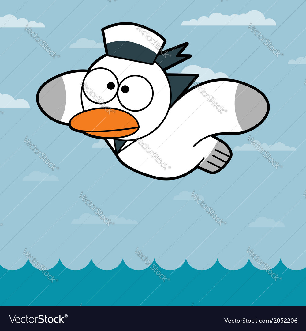 Cartoon seagull vector | Price: 1 Credit (USD $1)