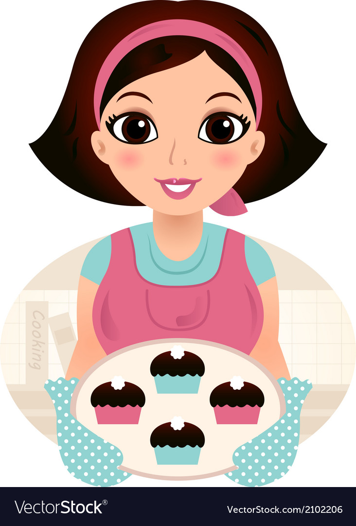 Cute woman cooking cookies isolated on white vector | Price: 1 Credit (USD $1)