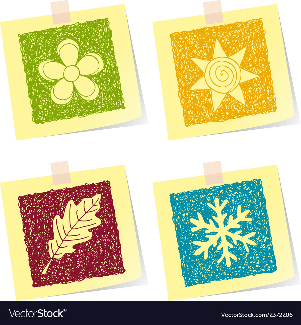 Four seasons sketches vector | Price: 1 Credit (USD $1)