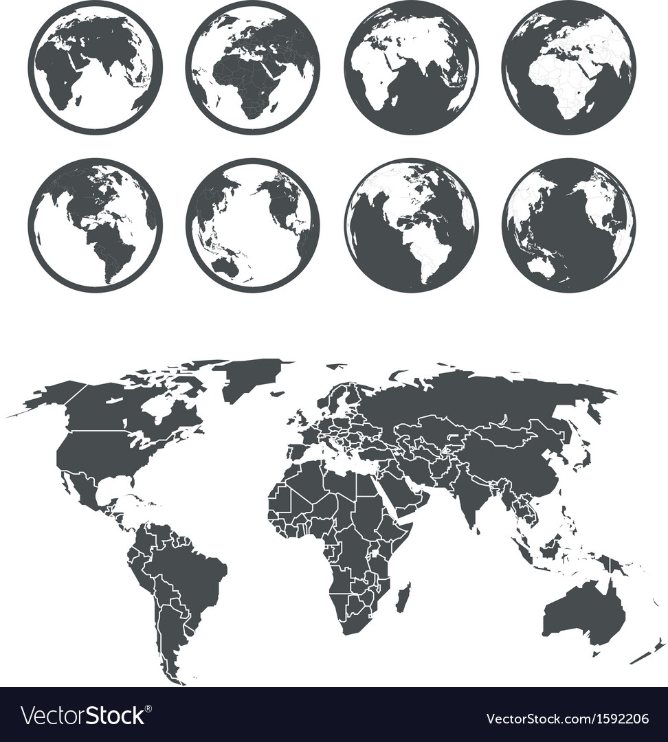 Globe and earth map scheme vector