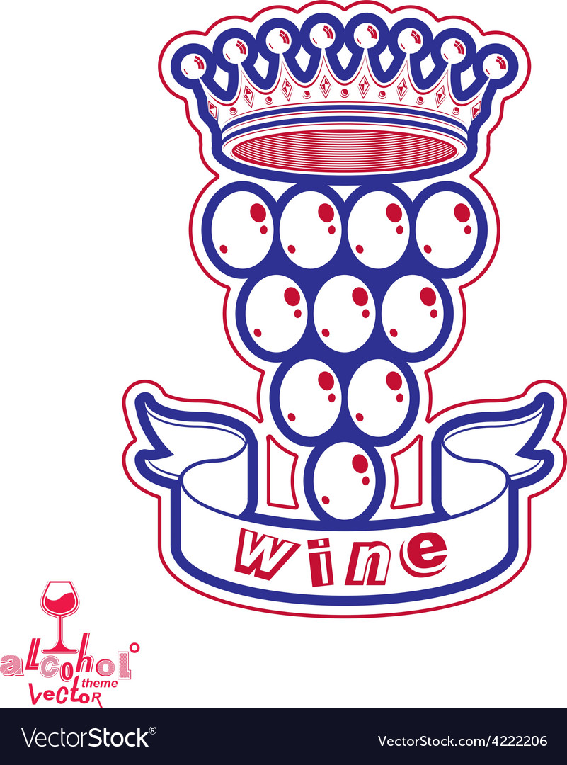 Grape vine with royal crown vector | Price: 1 Credit (USD $1)