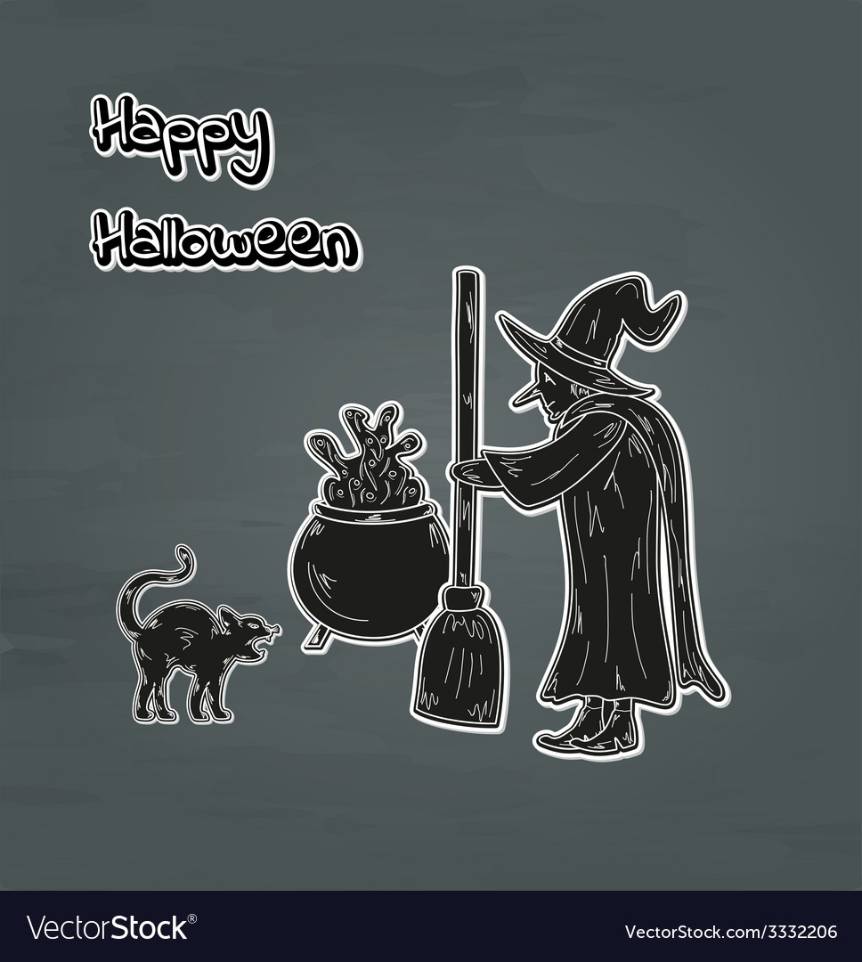 Old witch cat and cauldron vector | Price: 1 Credit (USD $1)