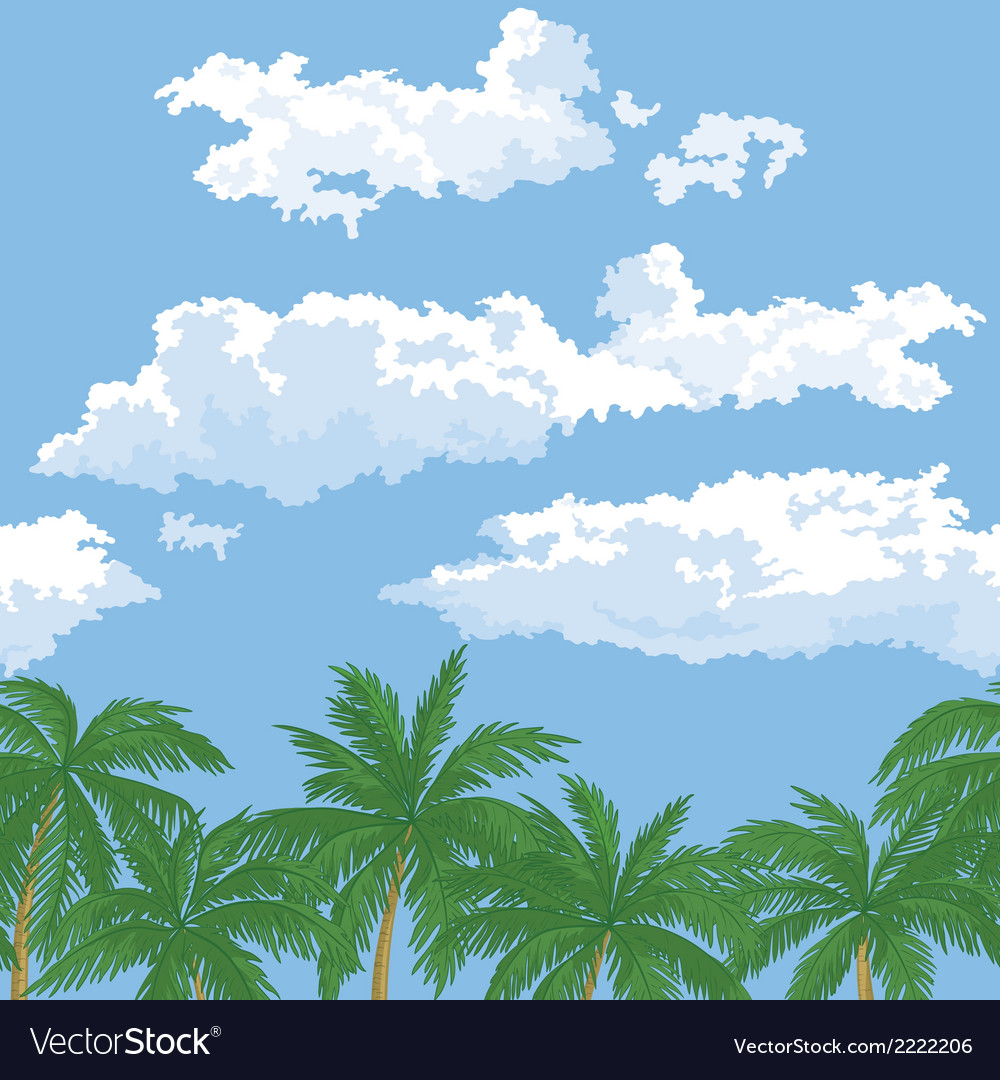 Palm trees and sky with clouds vector | Price: 1 Credit (USD $1)