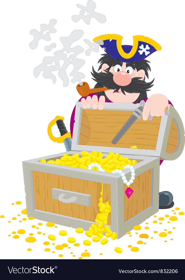 Pirate and treasure chest vector | Price: 1 Credit (USD $1)
