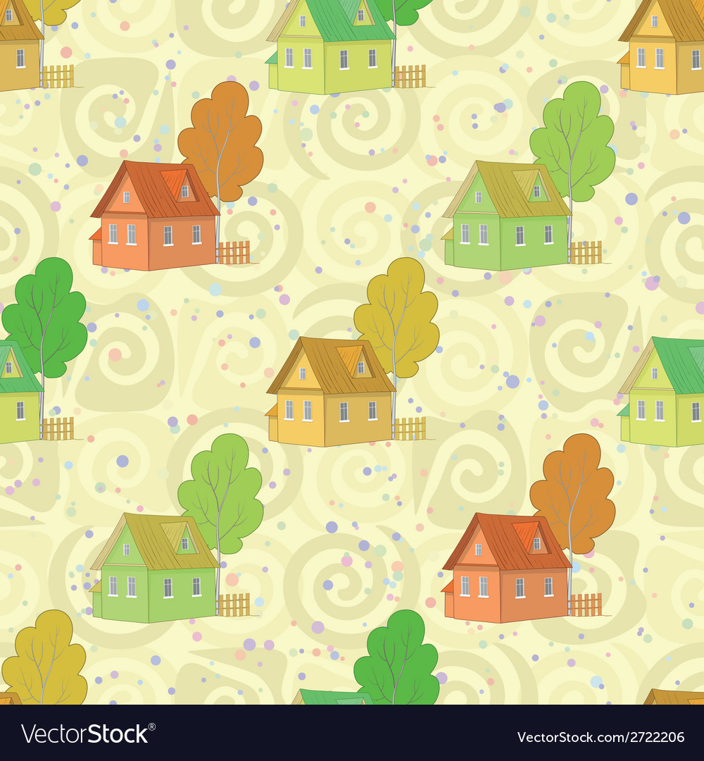 Seamless pattern cartoon houses and trees vector | Price: 1 Credit (USD $1)