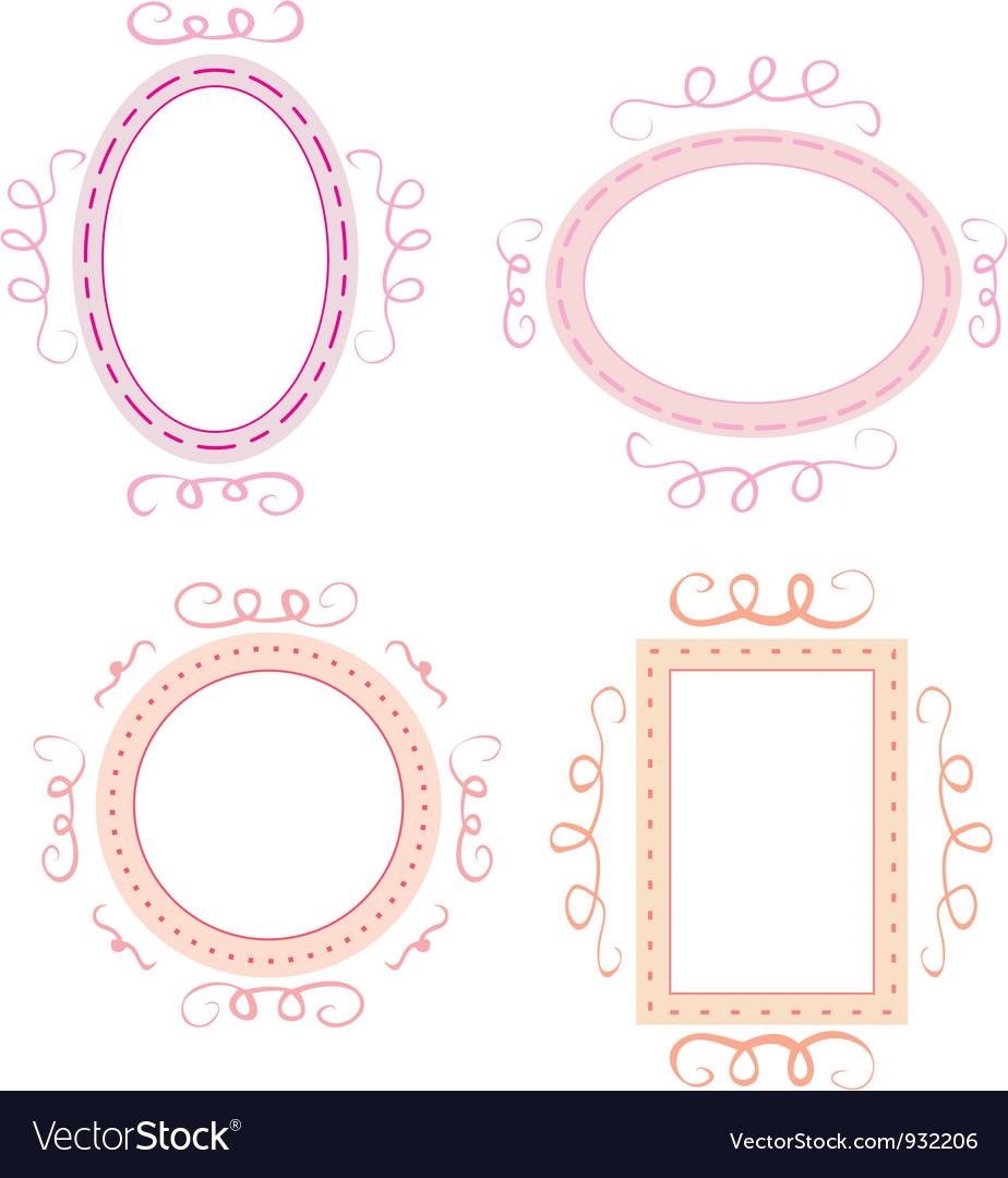 Set of cute hand-drawn empty retro frames vector | Price: 1 Credit (USD $1)