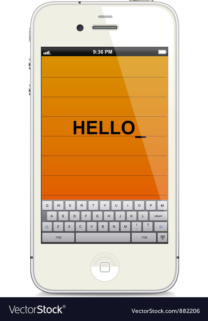 Smartphone with touch keyboard vector | Price: 3 Credit (USD $3)