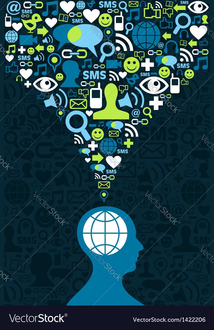 Social media brain communication splash vector | Price: 3 Credit (USD $3)