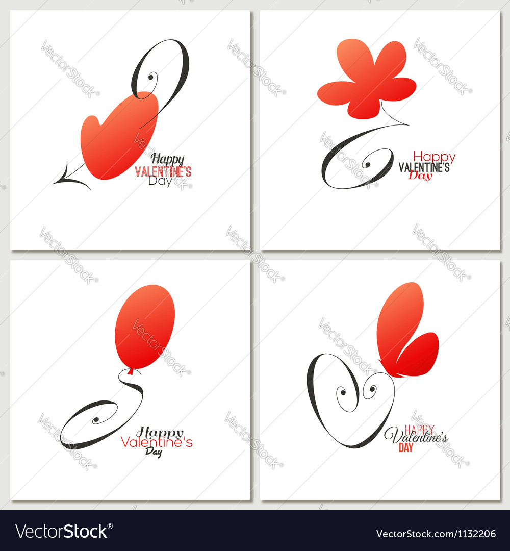 Stylish calligraphic valentines day greeting cards vector | Price: 1 Credit (USD $1)
