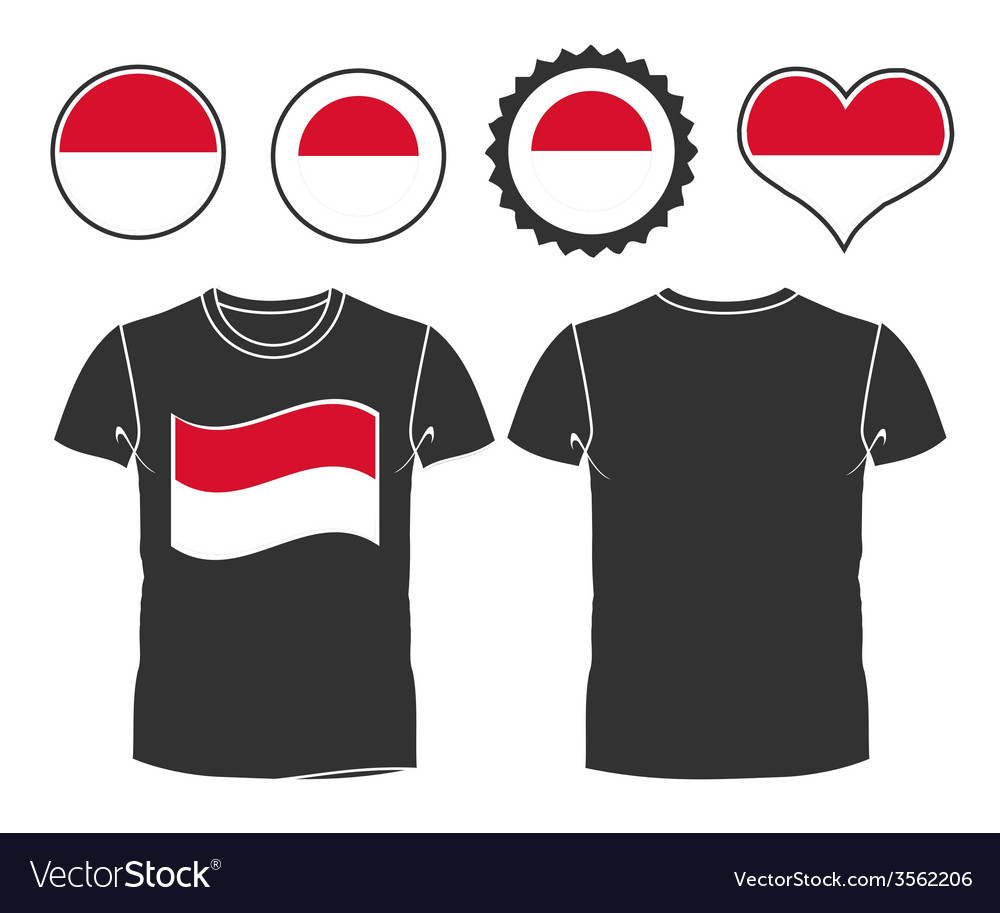 T-shirt with the flag of monaco vector | Price: 1 Credit (USD $1)