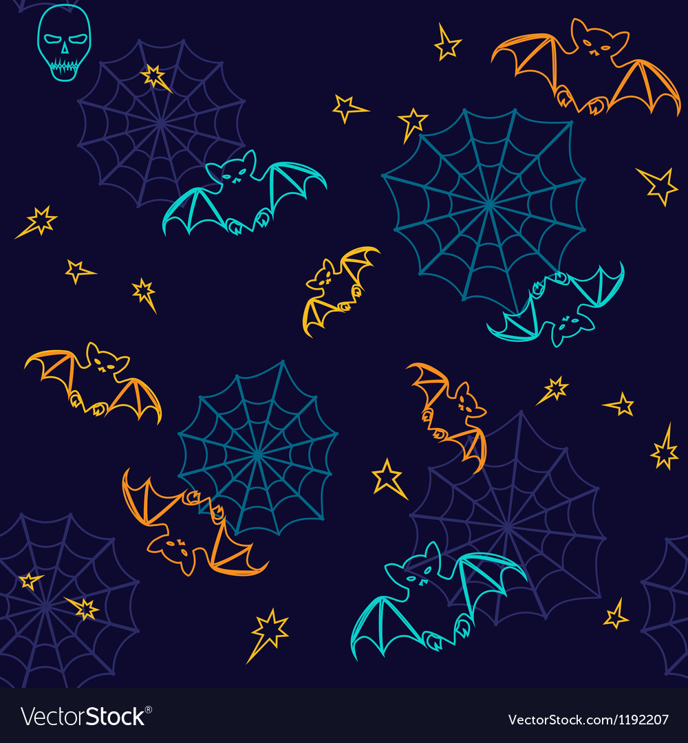 Bats and web halloween seamless background vector | Price: 1 Credit (USD $1)