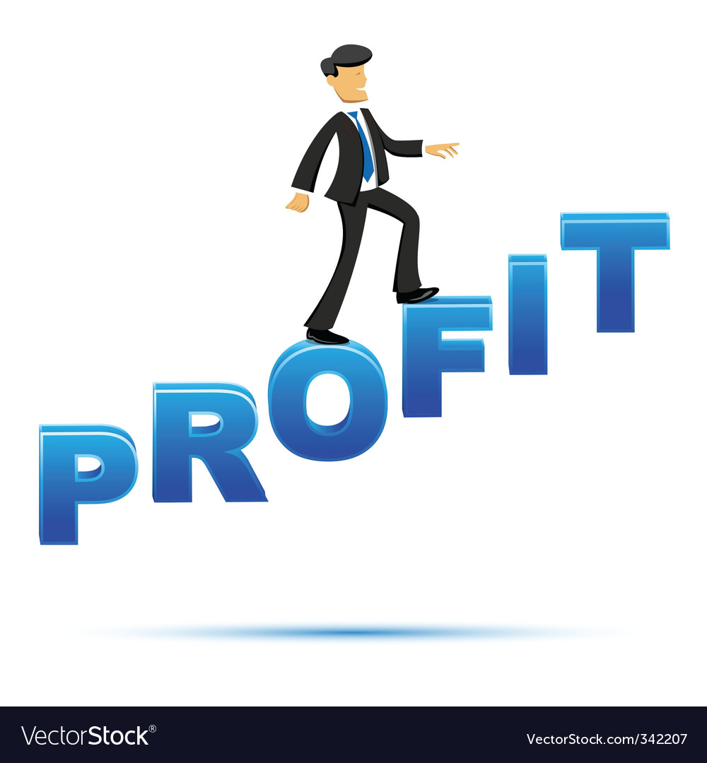 Businessman climbing on profit text vector | Price: 1 Credit (USD $1)