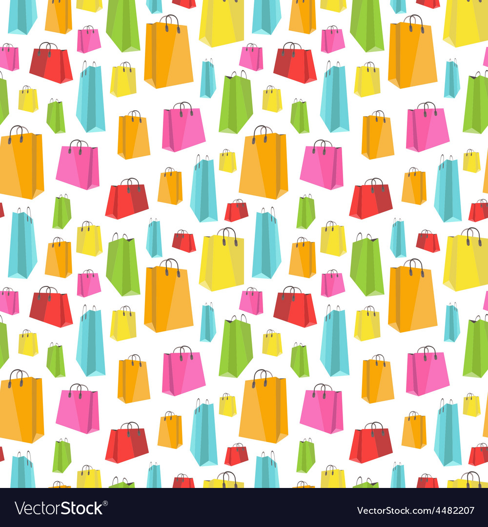Flat colorful shopping bags on white seamless vector | Price: 1 Credit (USD $1)