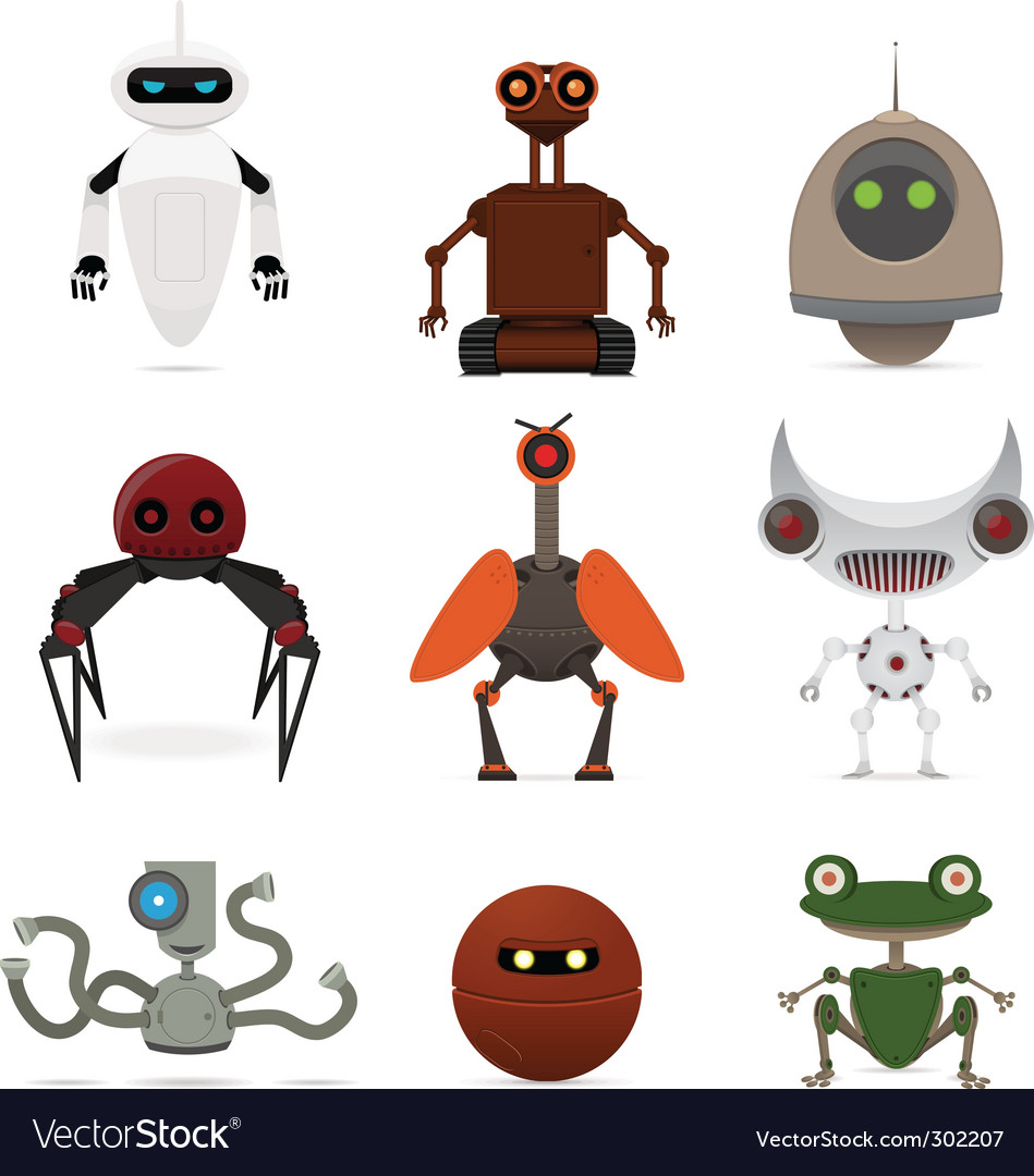 Set of different robots vector | Price: 3 Credit (USD $3)