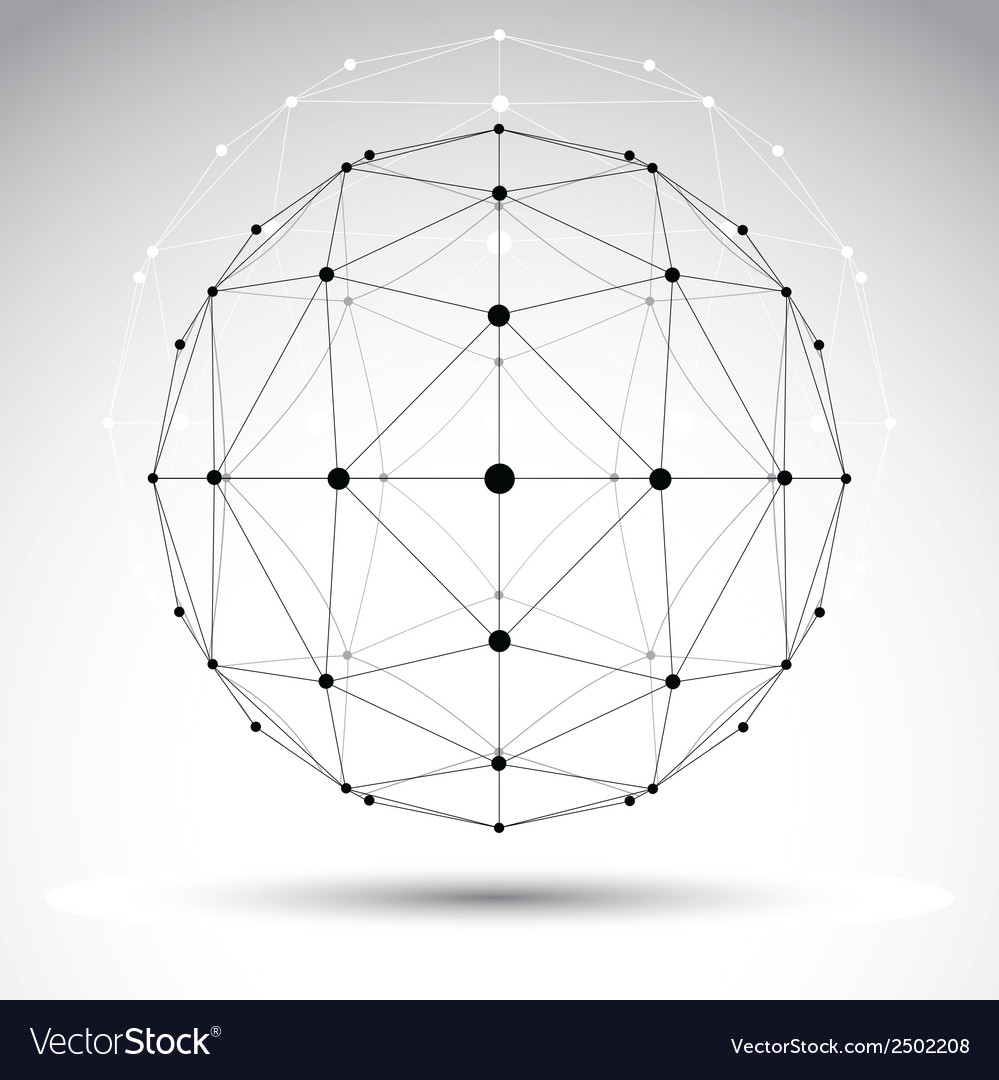 Abstract geometric 3d wireframe object modern vector | Price: 1 Credit (USD $1)