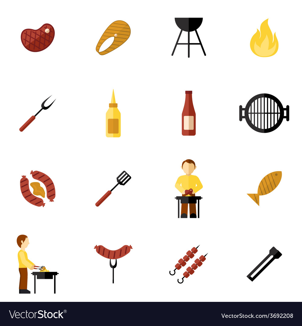 Bbq grill icon flat vector | Price: 1 Credit (USD $1)