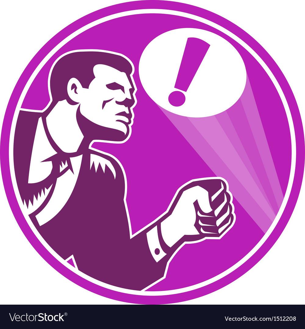 Businessman responding emergency signal retro vector | Price: 1 Credit (USD $1)
