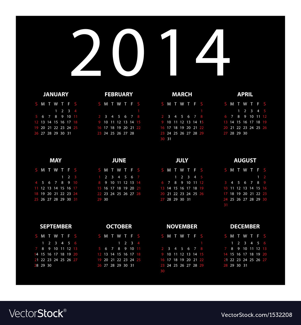Calendar for 2014 on black background vector | Price: 1 Credit (USD $1)