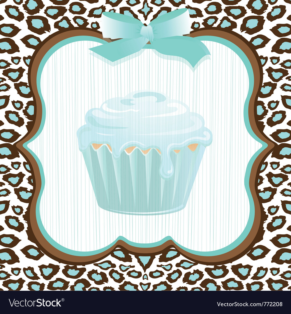 Cupcake birthday invitation vector | Price: 1 Credit (USD $1)