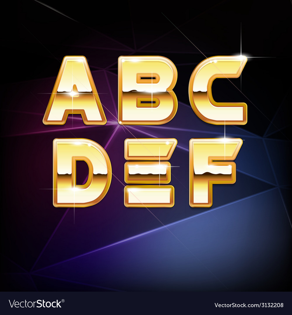 Golden shiny alphabet form a to f vector | Price: 1 Credit (USD $1)